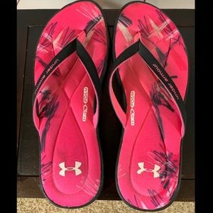Under Armour 4D Foam Flip Flop Sandal Pink Black 9